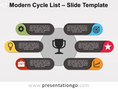 Modern Cycle List for PowerPoint and Google Slides Powerpoint Icon, Powerpoint Animation, Powerpoint Slide Designs, Powerpoint Charts, Powerpoint Themes, Business Powerpoint Templates, Presentation Design, Presentation Templates, Ppt Template Design