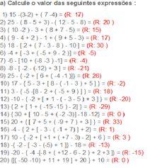 De Tudo Estudando: expressões numéricas-matemática 2nd Grade Math Worksheets, Printable Math Worksheets, Integers Worksheet, Mathematics Geometry, Algebraic Expressions, Math Magic, Math Formulas, Math Questions, Order Of Operations