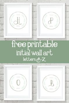 FREE printable initial wall art with pretty ivy :)