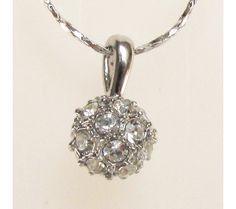 Jewelry Imitation diamond 18K white Gold plated Swarovski crystal ball Necklace $10.99