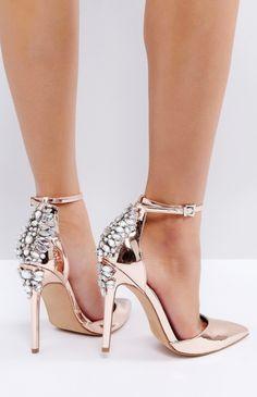 6dcda584a0195 Evy Rose Gold Embellished Block Heeled Sandals