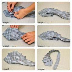 gravatas velhas Materiais necessários:  Uma gravata Alfinetes Linha e Agulha Tesoura Máquina de costura (se você tiver e/ou quiser)