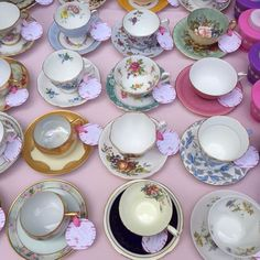 Tea for Two Birthday Party Teacups - cute collection and set-up for a tea party birthday!
