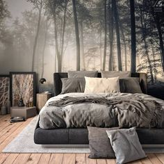 Do you guys like this space? Via – Forest Bedroom is designed and visualized… Do you guys like this space? Via – Forest Bedroom is designed and. Bedroom Inspo, Home Decor Bedroom, Modern Bedroom, Bedroom Inspiration, Gothic Bedroom, Bedroom Bed, Master Bedroom, Minimalist Bedroom, Loft Style Bedroom