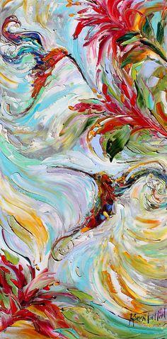 Original impasto painting Hummingbird Flowers OIL palette knife modern impressionism fine art impasto by Karen Tarlton