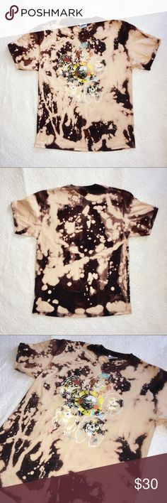 Bleached distressed guns and roses black tshirt LA Hand made. Trendy worn band shirt look. Never worn, brand new. Adult large shirt size. Lf tagged for exposure. lf Tops Tees - Short Sleeve