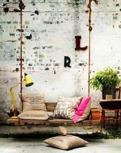 Europalette DIY Schwingseile - Basic Dekor For Home Swing Indoor, Indoor Outdoor, Outdoor Spaces, Outdoor Retreat, Outdoor Kitchens, Outdoor Lounge, Diy Casa, Diy Pallet Projects, Pallet Ideas