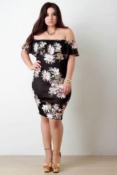 Off-The-Shoulder Ruffle Floral Pattern Dress – Style Lavish