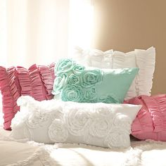 Ruffle & Rose Pillow Covers | PBteen    *Ad's bed*