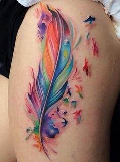 Amazing colors.. watercolor feather tatoo!! So colorful!!!