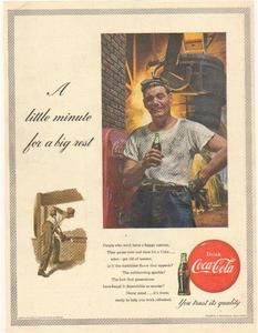 1953 Coca-Cola Iron Worker Colorful Vintage Ad~W@W!!