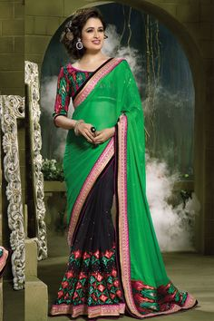 Andaaz Fashion presents new arrival designs of sarees like party, wedding, festival, ceremonial with price RM485.00. Embellished with embroidered patch resham stone zari, Embroidered Pallu, Boat Neck Blouse, Elbow Sleeve.   http://www.andaazfashion.com.my/womens/sarees/newarrival