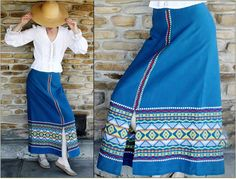 Vintage Maxi Skirt / Hippie / Boho / Tribal / Ethnic / Guatemalan / Hipster / Embroidered