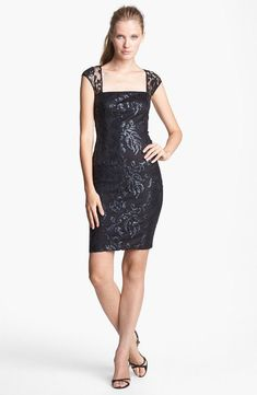 a17fac0eed Adrianna Papell embellished lace sheath BLACK Dress Adrianna Papell