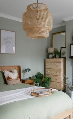 The Look: Boho Bedroom Green And White Bedroom, Green Bedroom Walls, Bedroom Wall Colors, Room Ideas Bedroom, Home Decor Bedroom, Budget Bedroom, Light Green Rooms, Small Bedroom Hacks, Light Pink Bedrooms