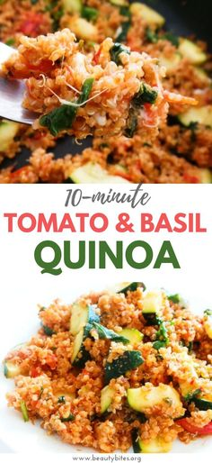 Easy Tomato & Basil Quinoa Risotto - GF, Vegetarian/Vegan Option - Beauty Bites - Tomato and basil quinoa recipe! Healthy and easy vegetarian dinner recipe that is great as a weekni - Quinoa Recipes Easy, Veggie Recipes, Salmon Recipes, Whole Food Recipes, Pasta Recipes, Beef Recipes, Cooking Recipes, Seafood Recipes, Vegetarian Quinoa Recipes
