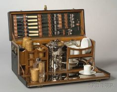 """Gorgeous - Drew & Sons Edwardian """"en Route"""" Picnic Set for Six, Picadilly Circus, London, early century Picnic Set, Picnic Time, Chuck Box, Campaign Furniture, Vintage Picnic, Steamer Trunk, Vintage Luggage, Home Interior, Tea Set"""