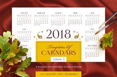 2018. Templates of Calendars. Vol. 2 by O'Gold! on @creativemarket