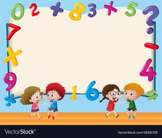 Border template with kids and numbers Royalty Free Vector Math Wallpaper, Cute Wallpaper Backgrounds, Cute Wallpapers, Kids Background, Cartoon Background, School Border, Kids Planner, Border Templates, Boarders And Frames