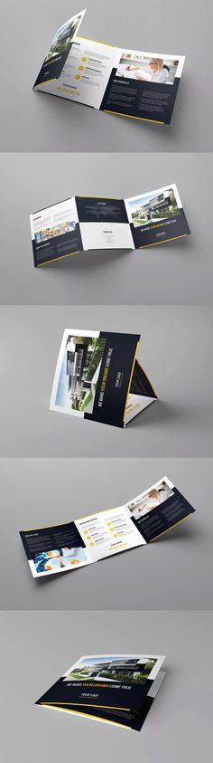 Builder Tri-Fold Square Brochure Template PSD