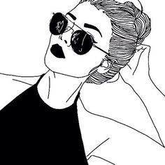 art, noir, noir et blanc, dessiné, dessin, mode, cheveux, hipster, style, lunettes antisolaires, swag, Tumblr, tumblr girl, blanc