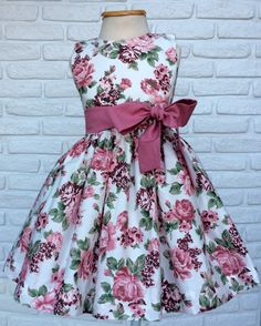 Floral Party Dress with off white background and dry pink sash Beautiful F . - Floral Party Dress with off white background and dry Pink sash Beautiful Party dress for your Princ - African Dresses For Kids, Latest African Fashion Dresses, Little Girl Dresses, Girls Dresses, Dress For Girl Child, Kids Dress Wear, Children Dress, Baby Frocks Designs, Kids Frocks Design