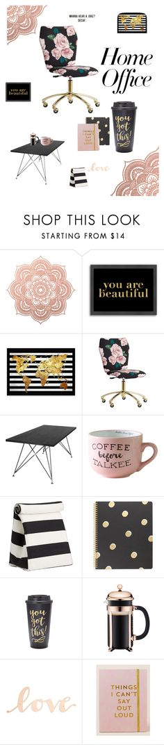 """""""Feminine office"""" by amberskysea ❤ liked on Polyvore featuring interior, interiors, interior design, home, home decor, interior decorating, Americanflat, PBteen, Kate Spade and Slant"""