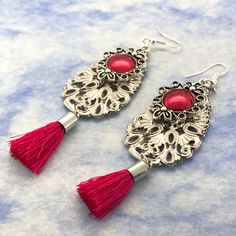 Red Tassel Earrings Boho Antique Silver Filigree drop earrings gift for her by VividSister on Etsy https://www.etsy.com/au/listing/534071702/red-tassel-earrings-boho-antique-silver