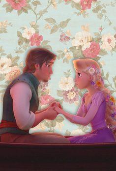 Rapunzel and Eugene on flowery wallpaper