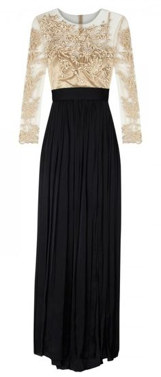 Catherine Deane Gold Patritia Embroidered Tulle And Silk Satin Gown