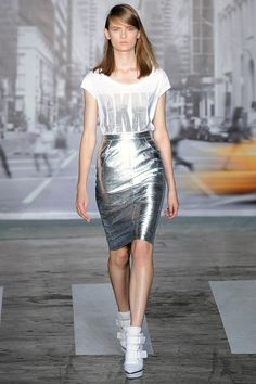 """Silver leather as well, including a pencil skirt."" DKNY Spring 2013 RTW"