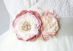 Wedding Sashes and Belts Pink Bridal Sash Floral Bridal