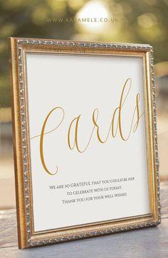 ELEGANT Printable Cards Sign  Wedding Reception by KarameleShop