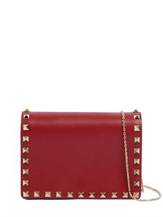 VALENTINO ROCKSTUD LEATHER CHAIN STRAP CLUTCH, DARK RED. #valentino #bags #shoulder bags #clutch #leather #hand bags #