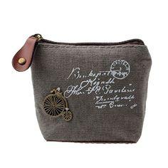 DZT1968(TM)Women Canvas Retro Small Mini Square Eiffel Wallet Coin Purses Clutch Money Pouch Bags Gift