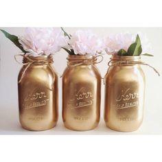 Tarros de masón de oro centros de mesa oro dorada cumpleaños