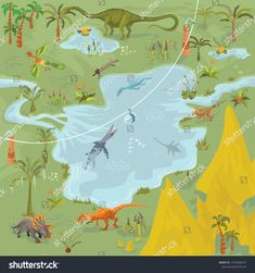Dinosaurs adventure theme park fantasy map scene of lost world, animals and plants lot 4 Fantasy Map, Dinosaurs, Create Yourself, Royalty Free Stock Photos, Scene, Lost, Adventure, Park, Illustration