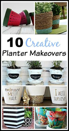10 Creative DIY Planter Makeovers - spruce up your old plain pots with these great ideas! DIY home decor projects, easy crafts, gardening projects