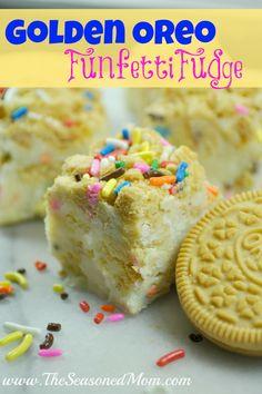 Cooking with Kids Series: Golden Oreo Funfetti Fudge - The Seasoned Mom