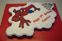 Cannon's Spiderman cupcake cake