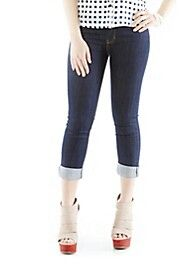 STRAIGHT-CUT ROLLED-CUFF JEANS