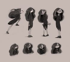 "Sketches of character development for ""The Hive"" Studio Character Design Girl, Character Design Animation, Character Drawing, Character Design Inspiration, Character Illustration, Character Concept, Character Sheet, Character Reference, Dark Art Illustrations"