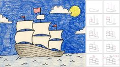 Here's a breakdown of how to draw a ship with sails. Drawing thesails from the bottom up makes it easier to connect them at the cornersto ...
