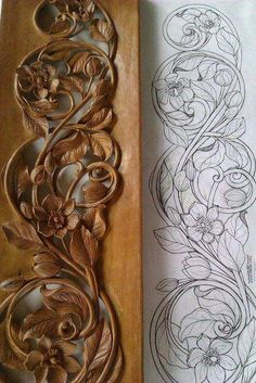 Wood Carving Patterns Dremel Woodcarving 36 Ideas For 2019 Wood Carving Designs, Wood Carving Patterns, Wood Carving Art, Leather Carving, Wal Art, Chip Carving, Motif Floral, Wooden Art, Woodworking Projects Plans