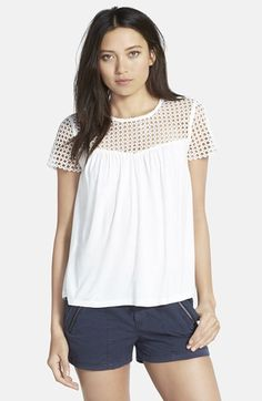 lace insert knit top / hinge