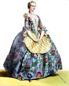 Rococo costumes. 18th century, Louis XV. fashion era.