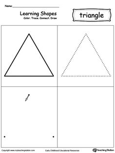 Learning Shapes: Color, Trace, Connect, and Draw a Triangle: Learn the triangle shape by coloring, tracing, connecting the dots and drawing with My Teaching Station printable Learning Shapes worksheet.