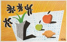 David Hockney - Two Apples and One Lemon and Four Flowers