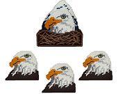 Eagle Head Coaster Set Plastic Canvas PDF Pattern