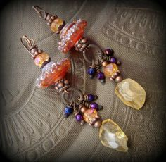 Gypsy, Bohemian, Citrine, Gemstone, Lampwork Glass, Earthy, Ethereal, Primitive, Organic, Rustic, Copper, Beaded Earrings by YuccaBloom on Etsy